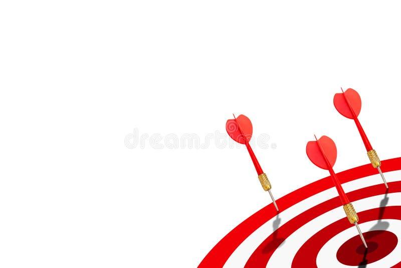Uno dei dardi rossi del gruppo ha colpito l'obiettivo sul bersaglio royalty illustrazione gratis