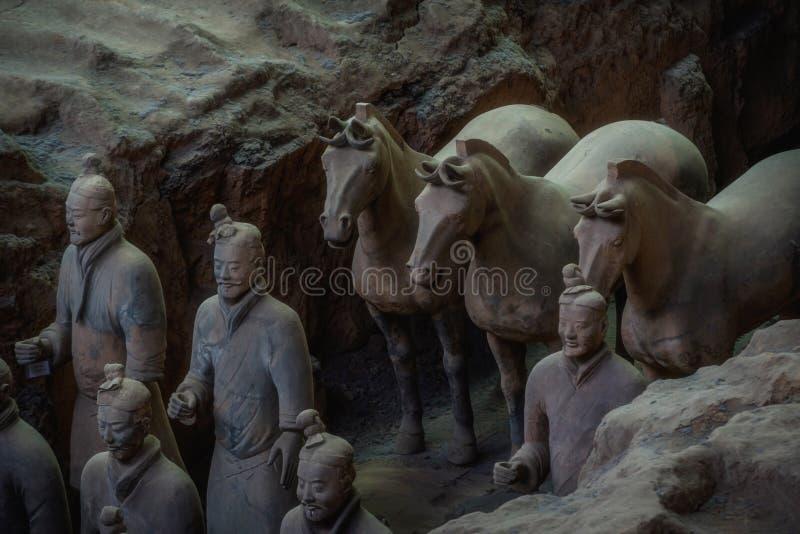 Uno del sitio de la herencia de la UNESCO; Guerreros de la terracota; Tierra restaurada fotografía de archivo