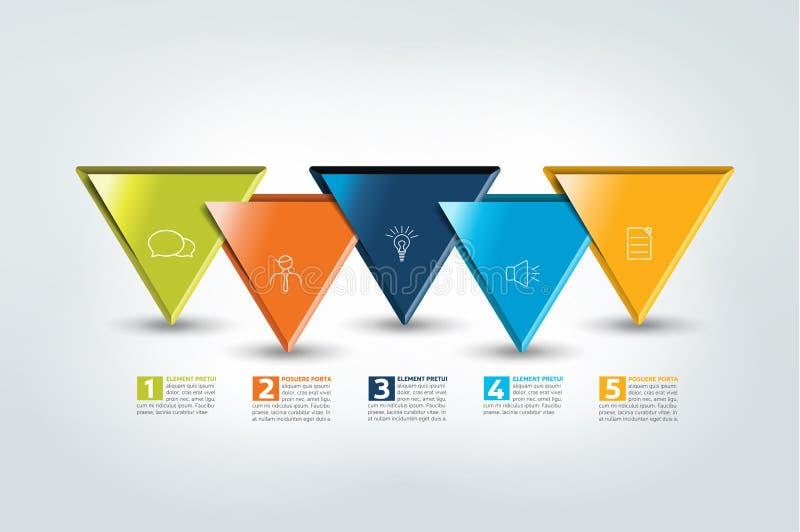 Uno, dos, tres, cuatro, plantilla de cinco pasos, cronología Infographic gradual libre illustration