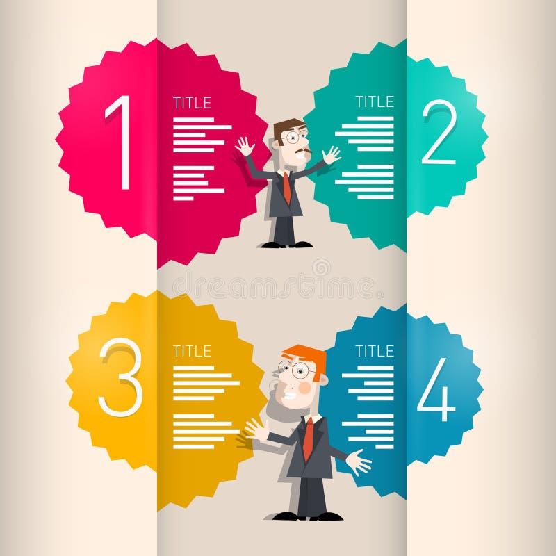 Uno, due, tre, quattro, retro punti di progresso della carta di vettore per l'esercitazione royalty illustrazione gratis