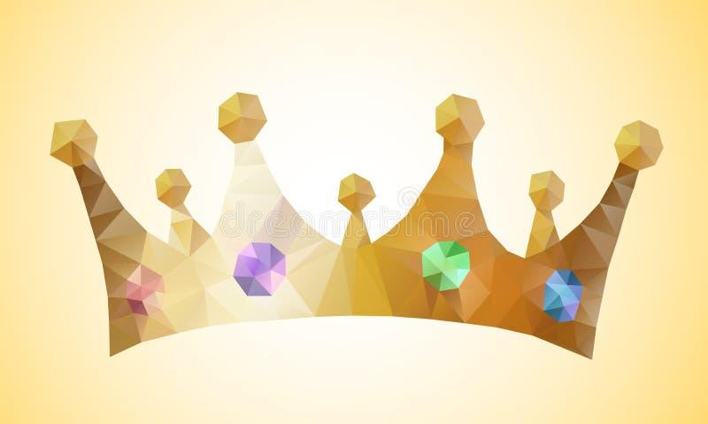 Uno ha isolato la corona dorata di piccola principessa poligonale con le gemme del gioiello Stile geometrico del triangolo modern illustrazione di stock
