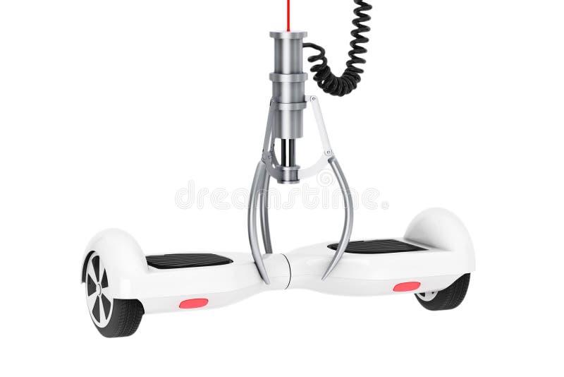 Uno mismo blanco que equilibra la vespa eléctrica en una garra robótica de Chrome ilustración del vector
