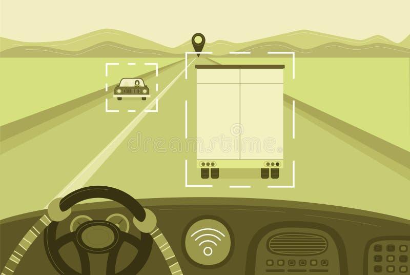 Uno mismo-conducción de concepto monocromático del camión Ilustración del vector ilustración del vector