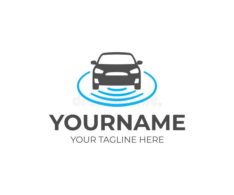 Uno mismo-conducción de diseño del logotipo del vehículo Diseño autónomo del vector del coche ilustración del vector
