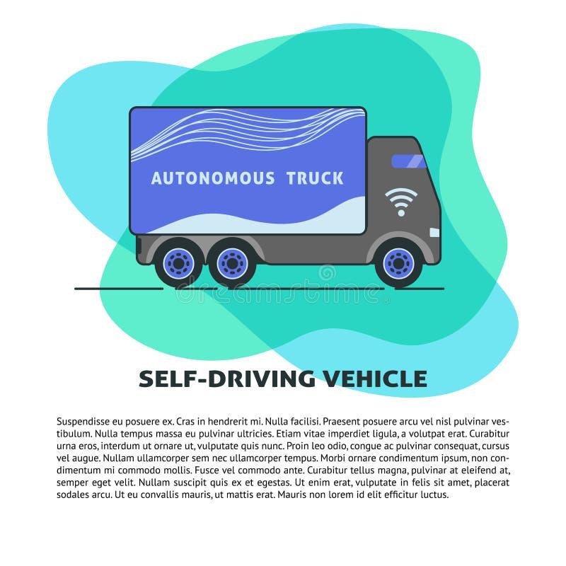 Uno mismo-conducción de la plantilla de la bandera del camión en estilo plano libre illustration