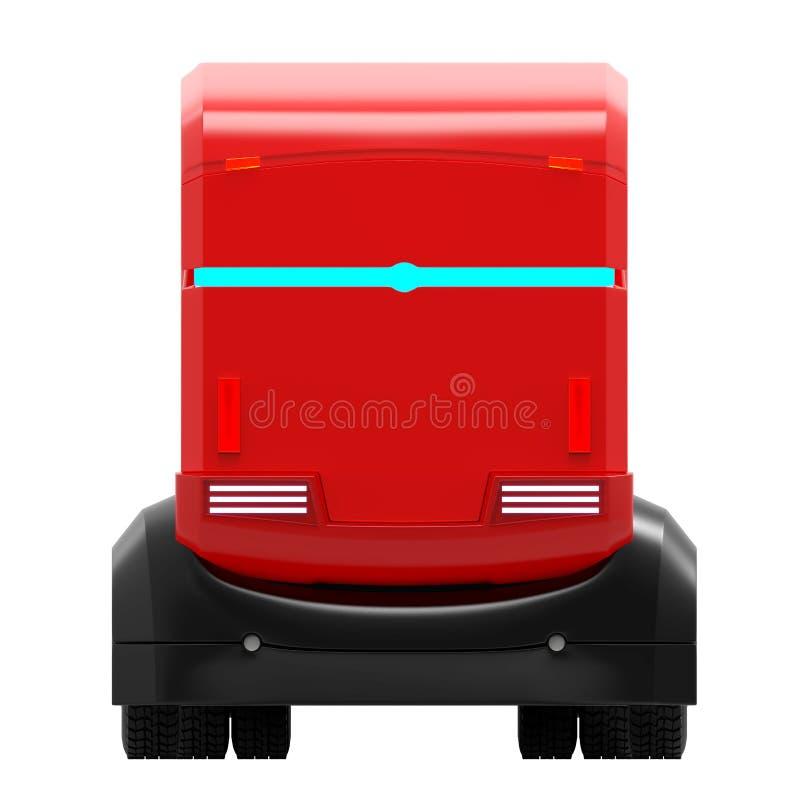 Uno mismo-conducción del frente rojo futurista del camión ilustración del vector