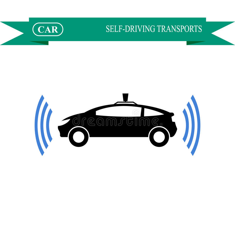 Uno mismo-conducción del icono del coche stock de ilustración