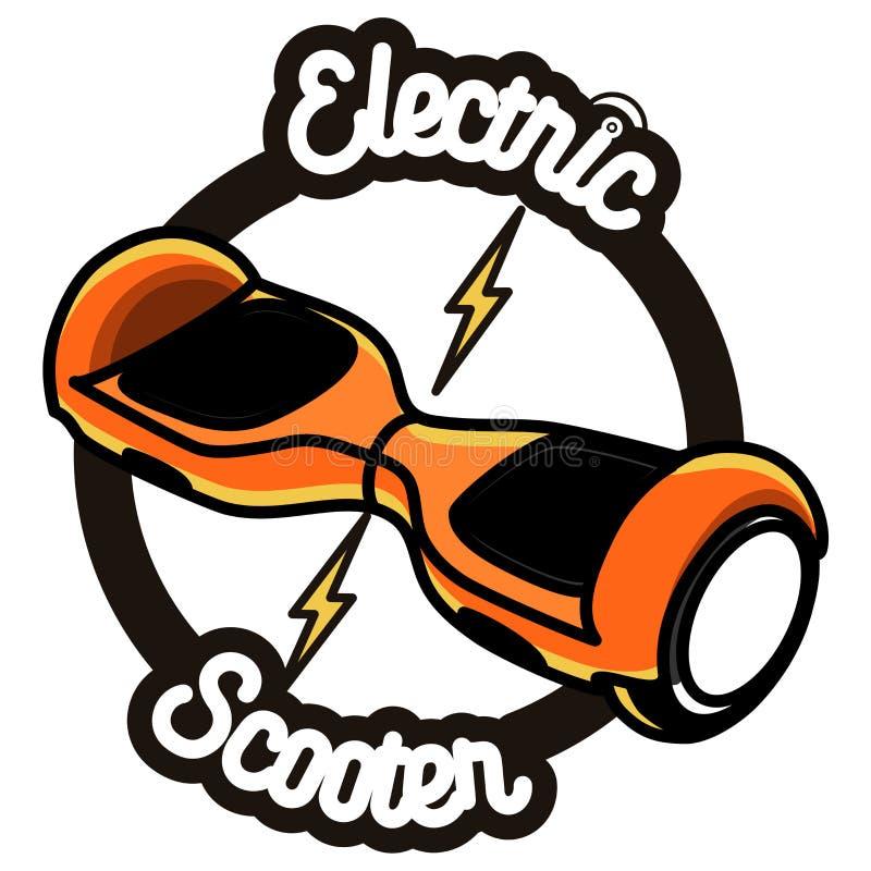 Uno mismo elegante que equilibra el emblema eléctrico de la vespa ilustración del vector