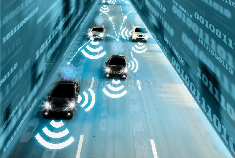 Uno mismo inteligente del genio futurista del camino que conduce los coches elegantes, el sistema de inteligencia artificial, la  ilustración del vector