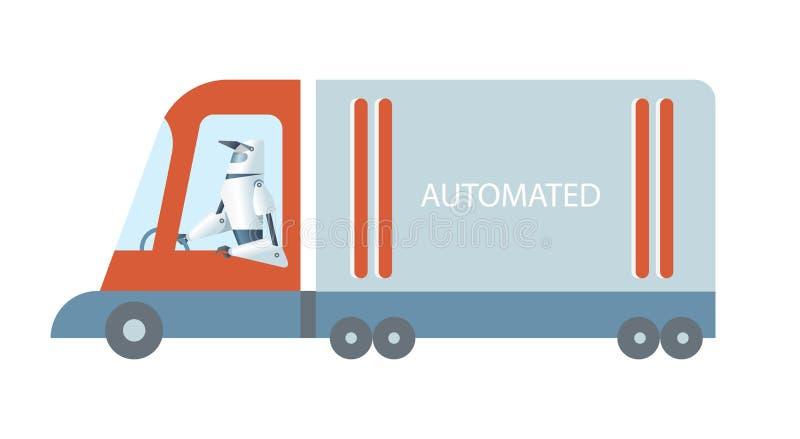 Uno mismo que conduce el camión autónomo drived por el robot stock de ilustración