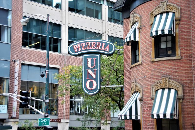 Uno pizzeria Chicago & grill, Illinois zdjęcia royalty free