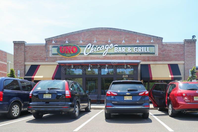 Uno Pizzeria & grade Parte dianteira do restaurante da grade da barra de Chicago fotos de stock royalty free