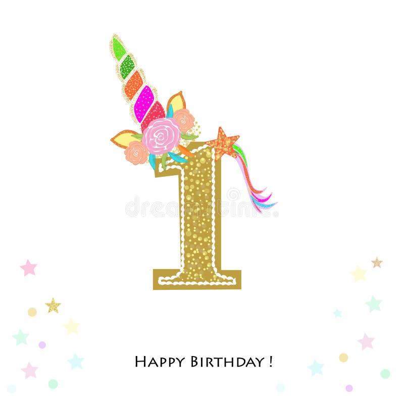 uno Primer cumpleaños Invitación colorida del cumpleaños del unicornio Fiesta de bienvenida al bebé, tarjeta de felicitación de l libre illustration