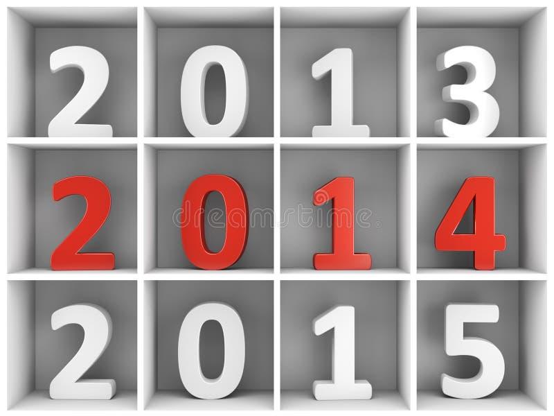 uno scaffale da 2014 nuovi anni con i numeri royalty illustrazione gratis