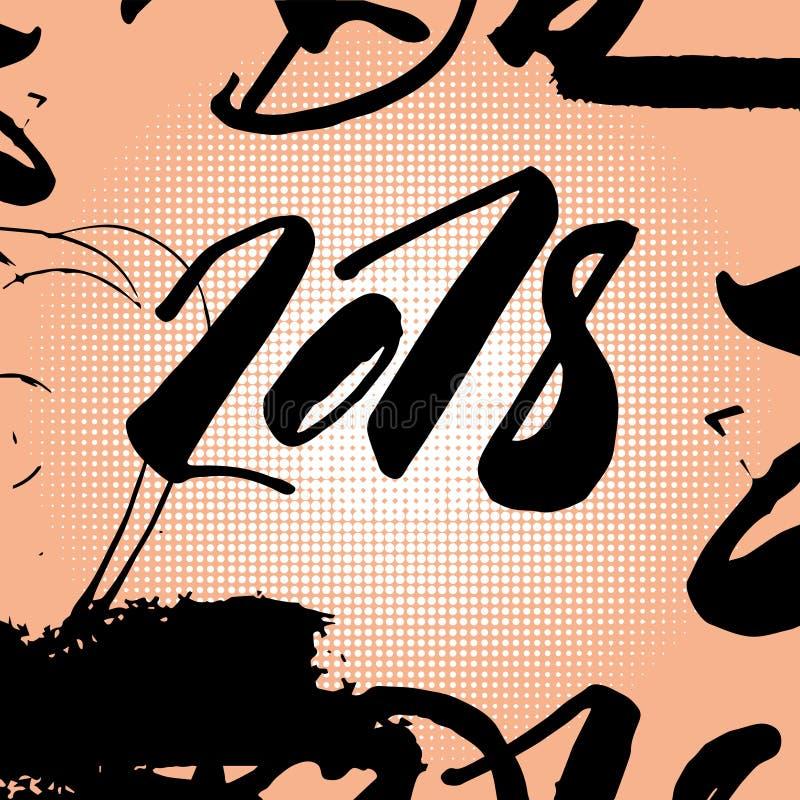 Uno schiocco Art Comic Poster Black Text di 2018 nuovi anni sopra Dot Background variopinto royalty illustrazione gratis