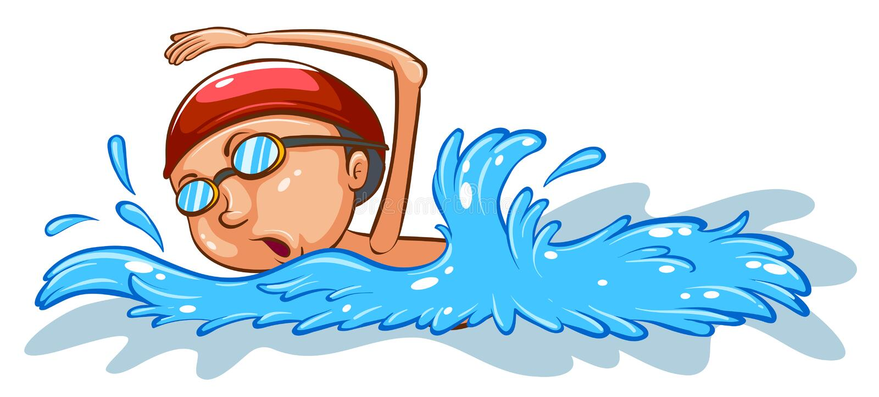 Uno schizzo colorato semplice di un nuoto del ragazzo illustrazione vettoriale