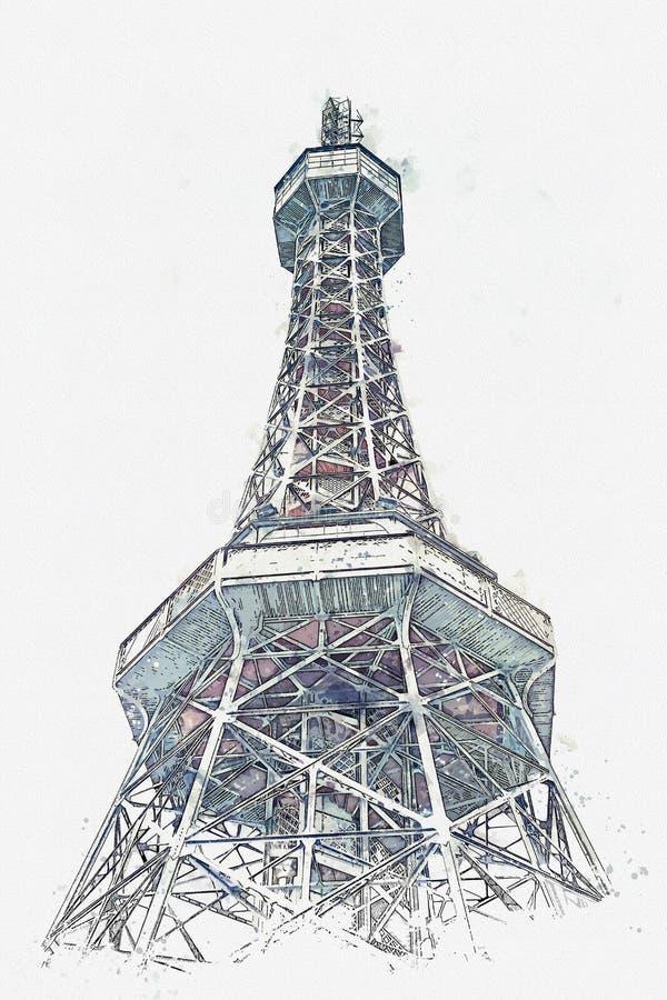 Uno schizzo dell'acquerello o un'illustrazione della torre alla collina di Petrin a Praga fotografie stock