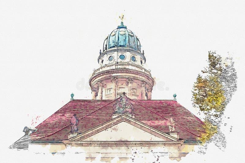 Uno schizzo dell'acquerello o un'illustrazione DOM francesi di Franzoesischer o della cattedrale a Berlino, Germania royalty illustrazione gratis