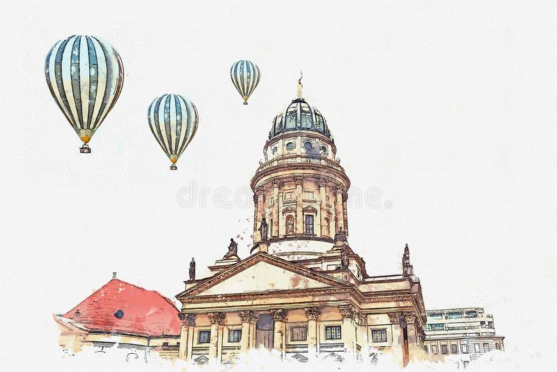Uno schizzo dell'acquerello o un'illustrazione DOM francesi di Franzoesischer o della cattedrale a Berlino, Germania illustrazione di stock