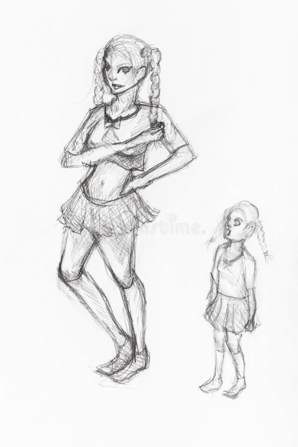 Uno schizzo di due sorelle disegnate a mano dalla matita nera illustrazione di stock