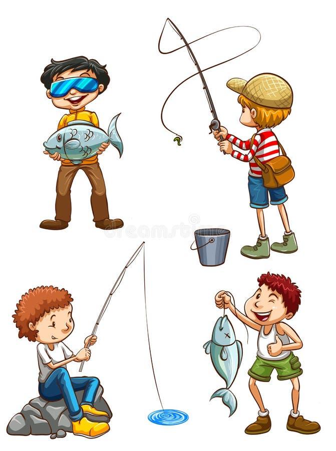 Uno schizzo di pesca degli uomini illustrazione di stock