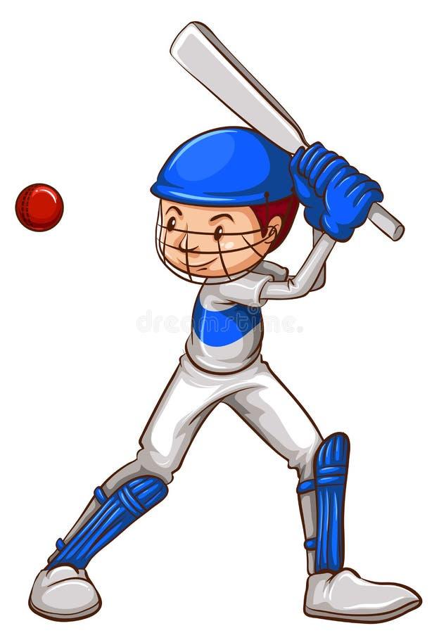 Uno schizzo di un giocatore del cricket illustrazione vettoriale