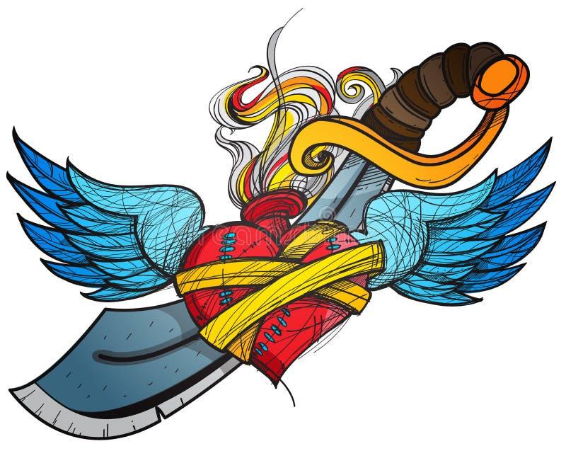 Uno schizzo di un tatuaggio Cuore con le ali e un'illustrazione colorata della spada illustrazione di stock