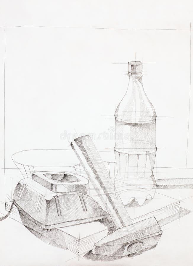 Uno schizzo disegnato a mano di tre oggetti illustrazione vettoriale