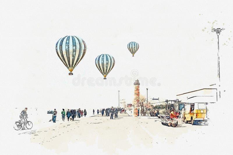 Uno schizzo o un'illustrazione dell'acquerello Argine nell'area di Belem a Lisbona illustrazione di stock