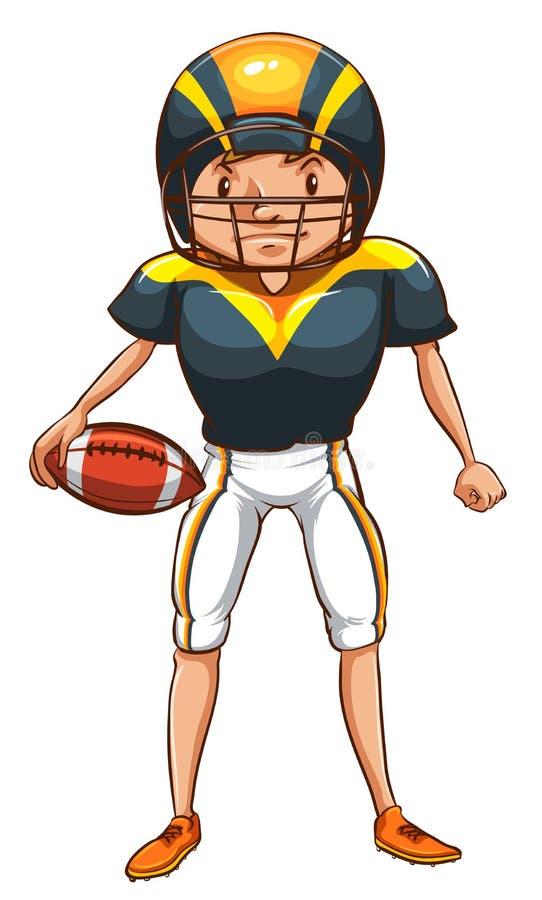 Uno schizzo semplice di un giocatore di football americano illustrazione di stock