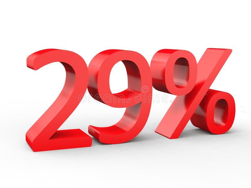 uno sconto di 29 per cento Numeri rossi 3d su fondo bianco isolato royalty illustrazione gratis