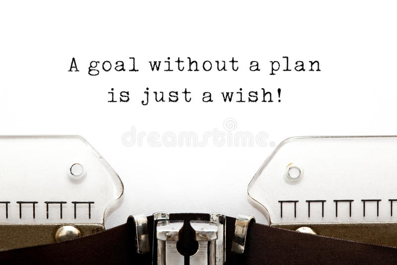 Uno scopo senza un piano è appena un desiderio fotografia stock
