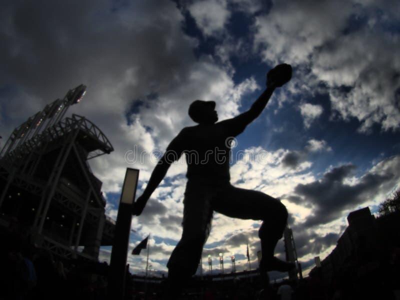 Uno stato di Bob Feller davanti al campo progressivo fotografia stock libera da diritti