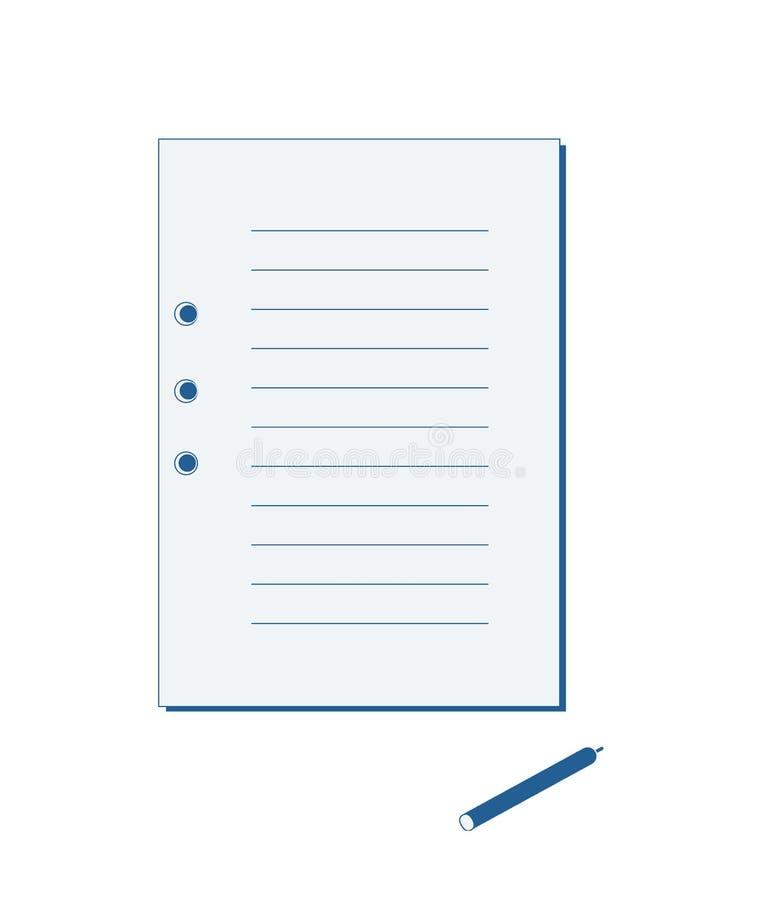 Uno strato da un taccuino e da una penna blu immagini stock libere da diritti