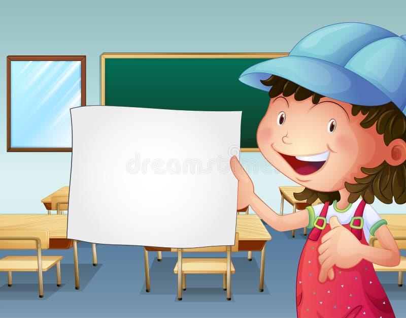 Uno studente che tiene pezzo di carta vuoto illustrazione vettoriale