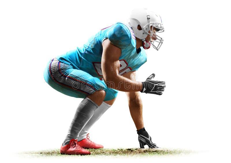 Uno studio dell'uomo del giocatore di football americano isolato su fondo bianco immagine stock libera da diritti