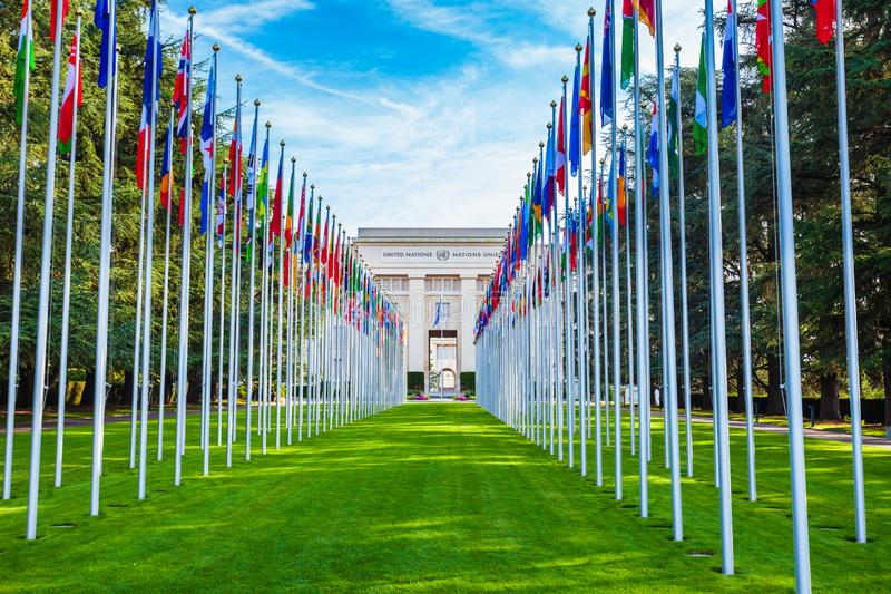 UNOG, Gabinete das Nações Unidas em Genebra imagem de stock