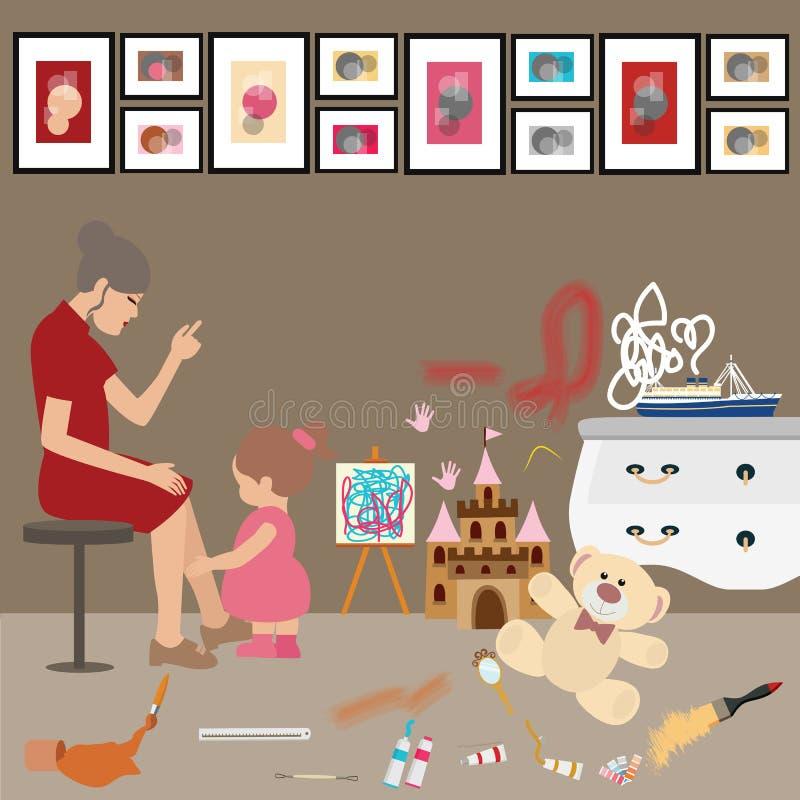 Unordentliche unordentliche Ausgangskinderkinder malen alle über frustriertem Druck der Wandmutterfrauen-Blicke stock abbildung