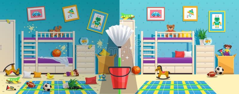 Unordentlicher Kinderraum bevor nachher lizenzfreie abbildung