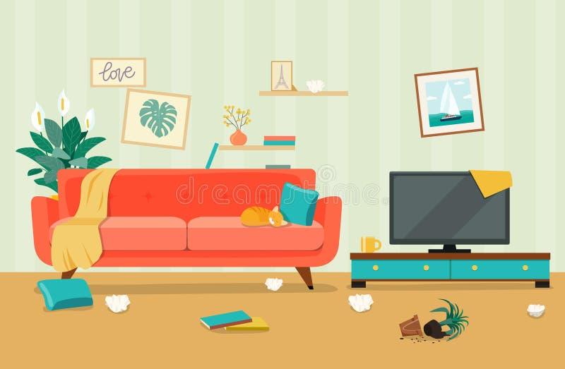 Unordentlicher Wohnzimmerinnenraum Möbel: Sofa, Bücherschrank, Fernsehen, Lampen vektor abbildung
