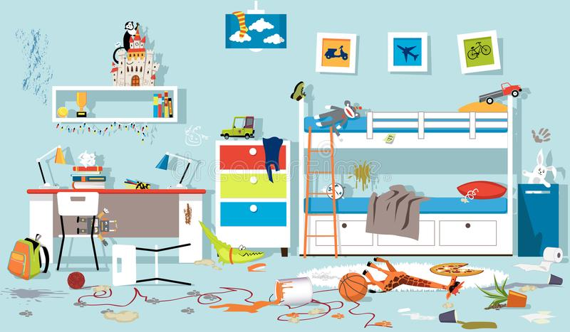 Unordentliches Kinderschlafzimmer stock abbildung