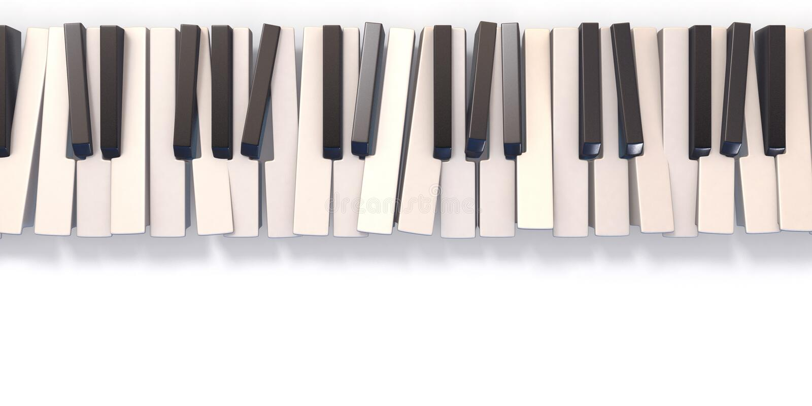 Unordered abstract piano keyboard 3D royalty free stock photos