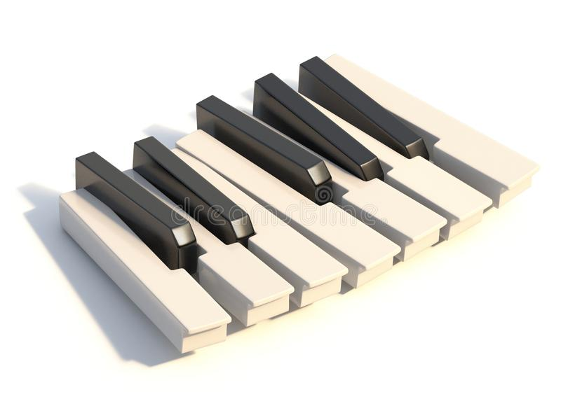Unordered abstract piano keyboard one octave 3D stock illustration