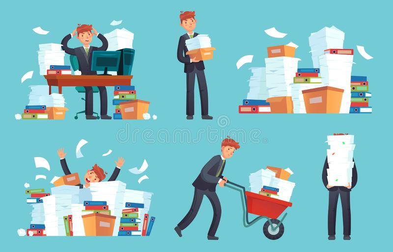 Unorganized office papers. Businessman overwhelmed work, messy paper documents pile and files stack cartoon vector stock illustration