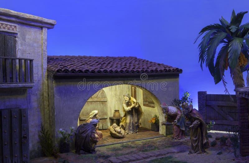 Unos de los reyes magos bíblicos Escena de la natividad de la Navidad imágenes de archivo libres de regalías