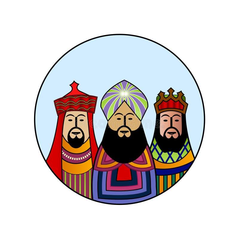 Unos de los reyes magos de la Navidad stock de ilustración
