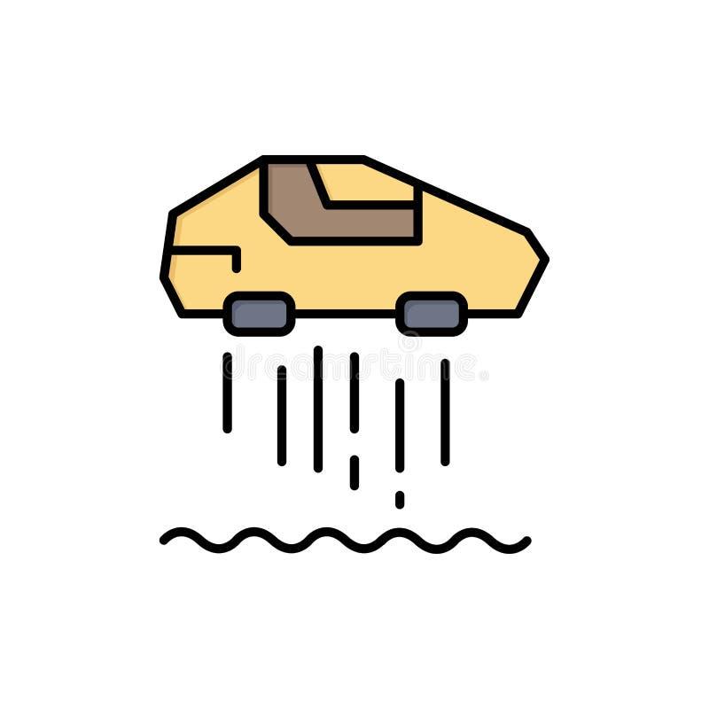 Unosi się samochód, ogłoszenie towarzyskie, samochód, technologia koloru Płaska ikona Wektorowy ikona sztandaru szablon royalty ilustracja