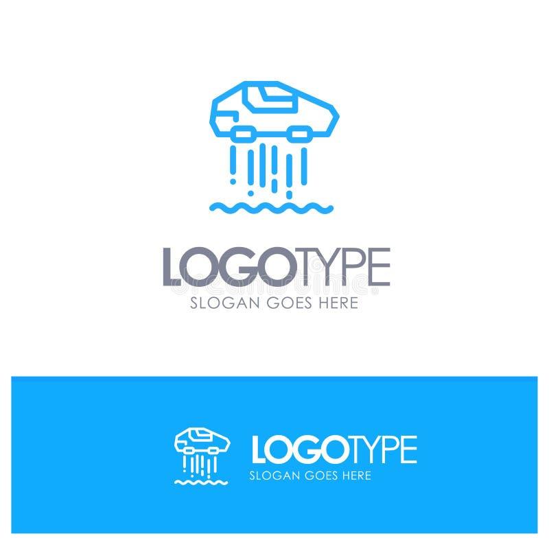 Unosi się samochód, ogłoszenie towarzyskie, samochód, technologia konturu logo Błękitny miejsce dla Tagline ilustracja wektor