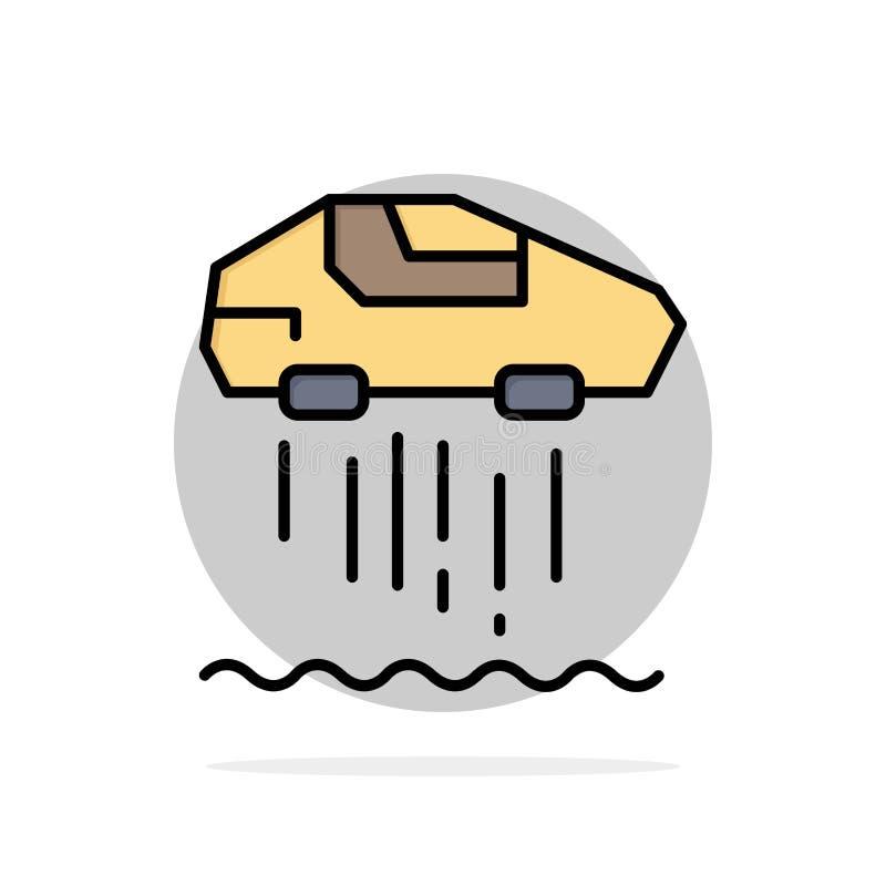 Unosi się samochód, ogłoszenie towarzyskie, samochód, technologia okręgu Abstrakcjonistycznego tła koloru Płaska ikona ilustracja wektor