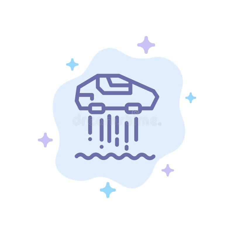 Unosi się samochód, ogłoszenie towarzyskie, samochód, technologii Błękitna ikona na abstrakt chmury tle ilustracja wektor